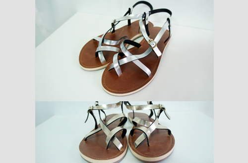 [sample shoes SALE] 메탈 크로스 샌들 (2 colors)